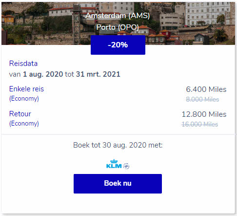 amsterdam-porto promo reward ticket